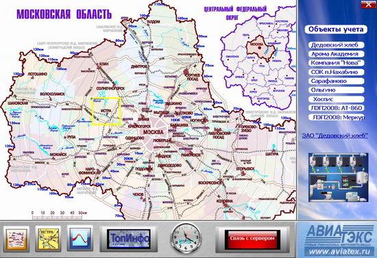 Экранная форма карты обслуживаемых регионов.