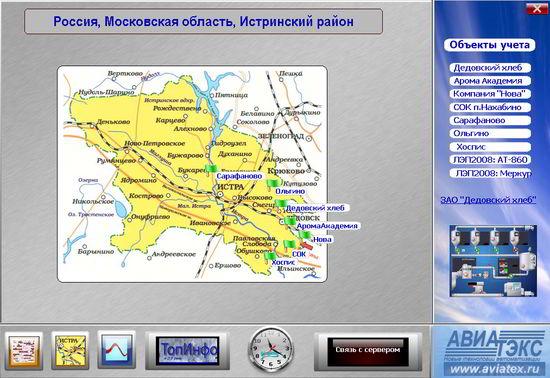 Экранная форма карты региона.